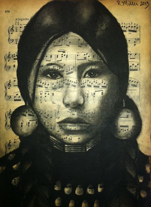 """Native American Indian Girl (inspired by antique photo), 2013  Charcoal on antique sheet music, 9"""" x 12"""""""