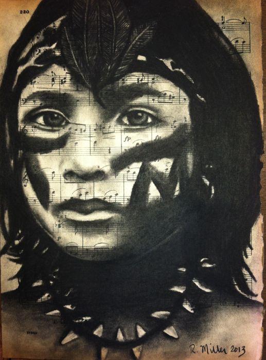 "South American AshaninkaGirl   Charcoal on Antique Sheet Music, 9"" x 12"""