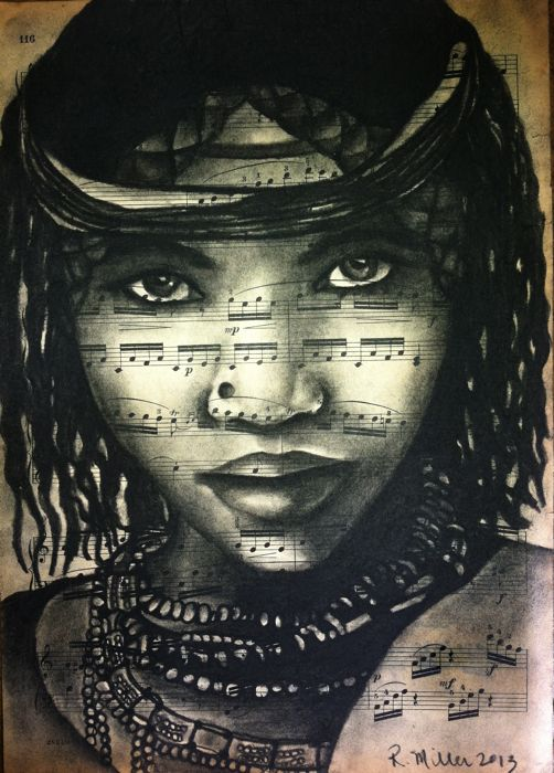 "Ethiopian Girl, 2013 Charcoal on Antique Sheet Music, 9"" x 12"""