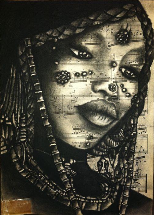 "Nigerian Sahel Girl, 2013   Charcoal on Antique Sheet Music, 9"" x 12"""