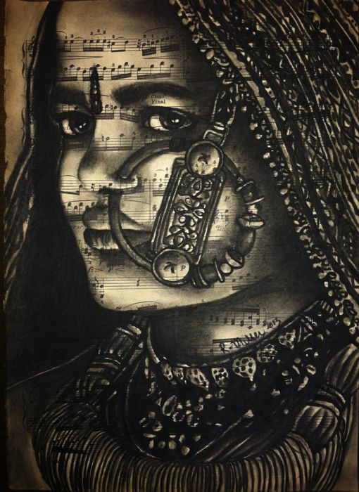 "Gujarat Indian Girl, 2013   Charcoal on Antique Sheet Music, 9"" x 12"""