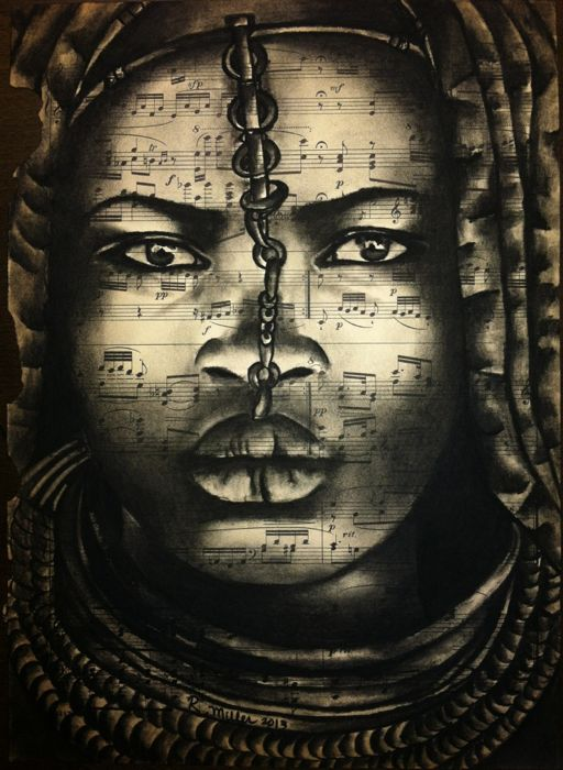 """Himba Woman of Namibia, 2013   Charcoal on Antique Sheet Music, 9""""x 12"""""""