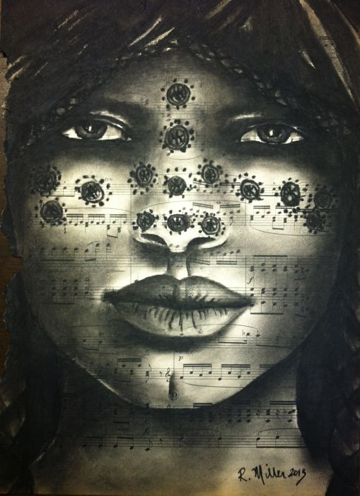 """Wodaabe Girl of Nigeria, 2013  Charcoal on Antique Sheet Music, 9"""" x 12"""""""