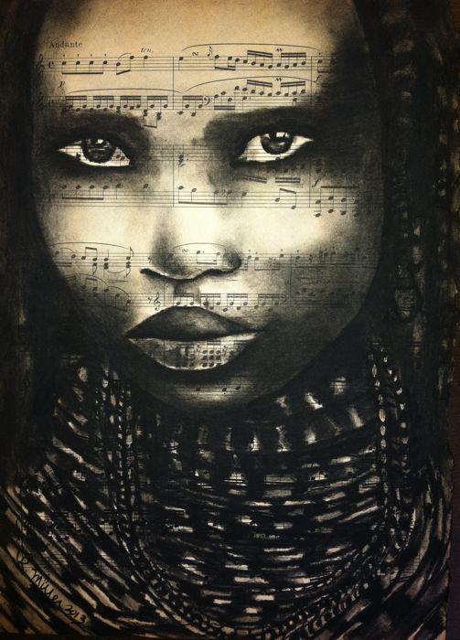 "Mwila Girl of Angola, 2013   Charcoal on Antique Sheet Music, 9"" x 12"""
