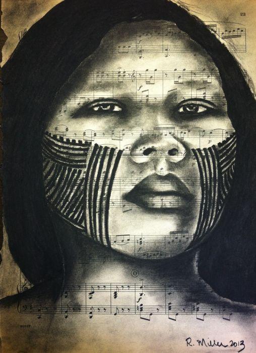 Kayapo Girl of the Amazon Rainforest, 2013   Charcoal on Antique Sheet Music