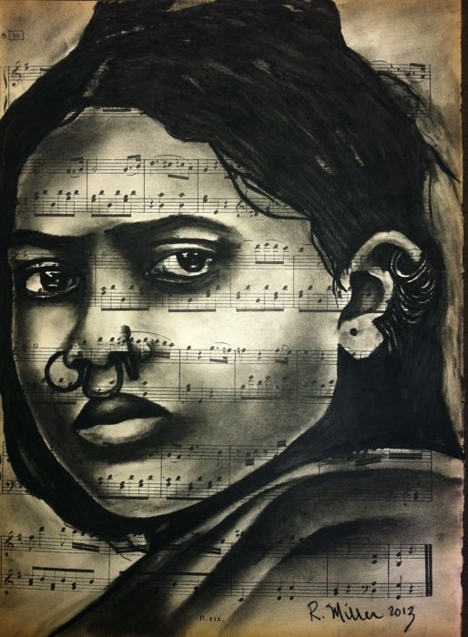 Dongria Kondha Girl of Eastern India, 2013   Charcoal/Ink on antique sheet music