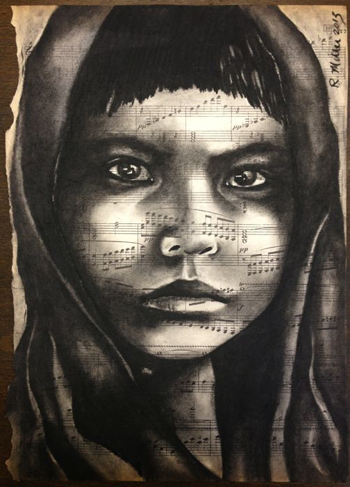 Native American Girl, 2013   Charcoal on Antique sheet music