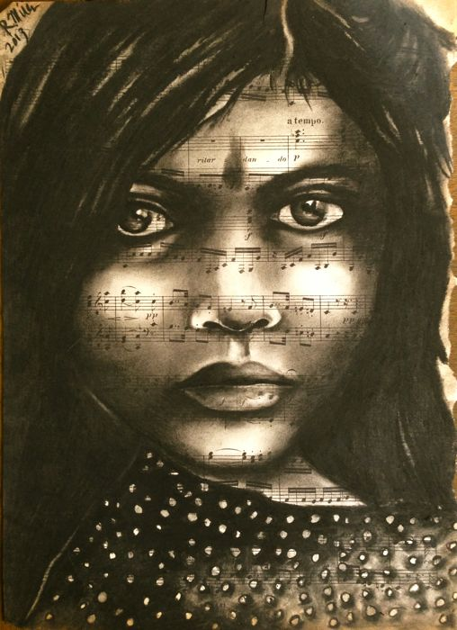 Indian Girl, 2013   Charcoal on antique sheet music