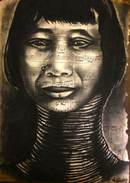 Kayan Woman of Thailand/Burma, 2013   Charcoal on antique sheet music