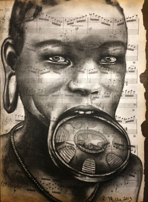 "Mursi or ""Mun"" Girl of Ethiopia, 2013   Charcoal on antique sheet music"