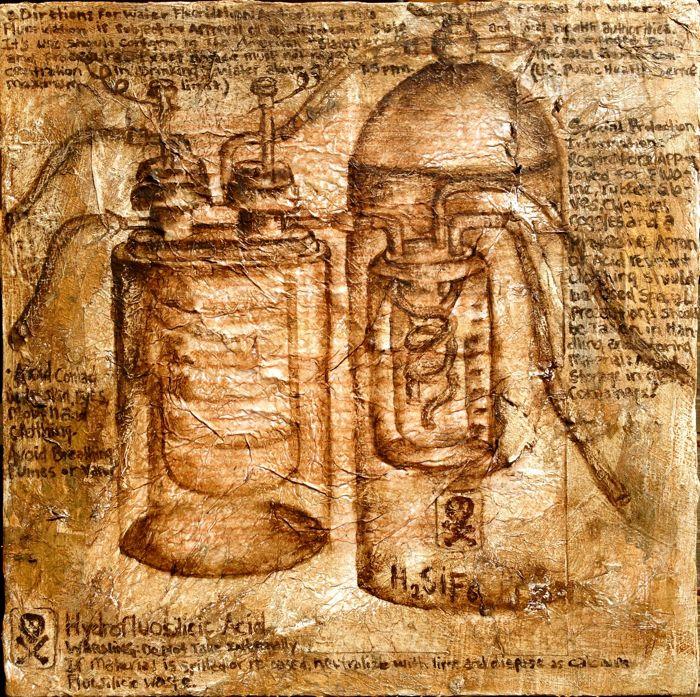 """Fluoride Machine"", 2014 Mixed media on canvas"