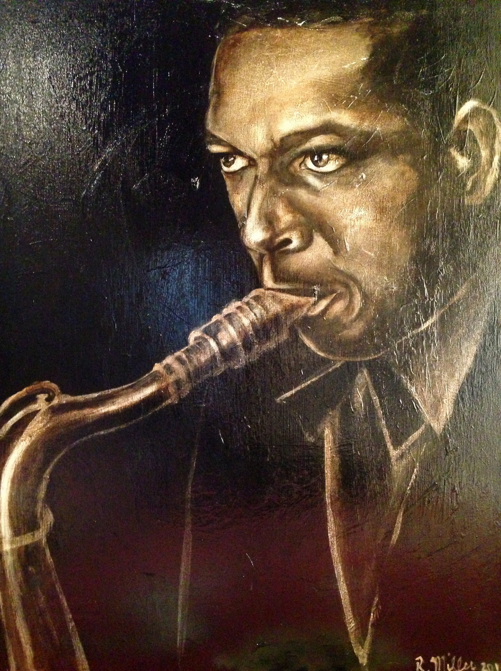 John Coltrane, 2014   Acrylic & oil on canvas