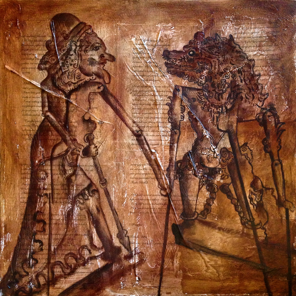 Wayang Kulit Puppets, 2014 Mixed Media on canvas