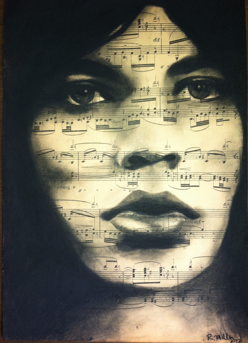 "Mick Jagger, 2012   Charcoal on antique sheet music, 9"" x 12"""
