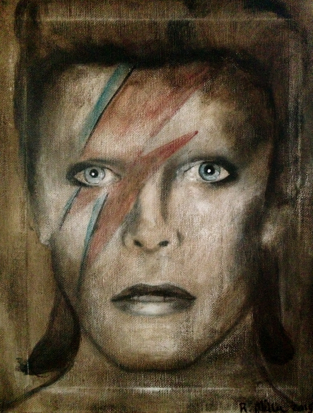 David Bowie/Ziggy Stardust, 2015   Acrylic & oil on canvas