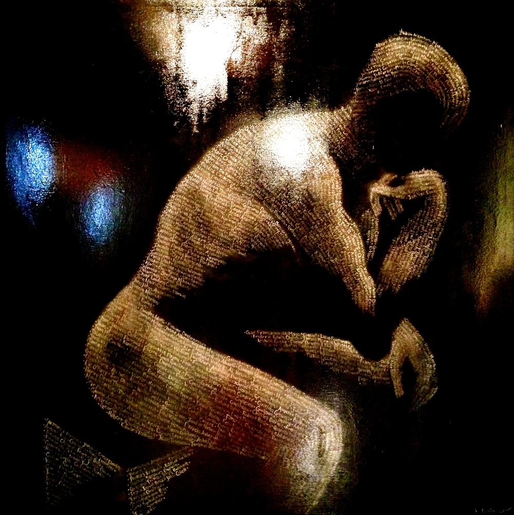"MANifestation, 2015  ~ This is a 4ft by 4ft Man in the form of Auguste Rodin's ""The Thinker"" created from the beginning of historys greatest thinkers, writers, painters, poets, conservationists, composers, scientists, philosophers, sculpters, etc... whom have made this a more inspired beautiful planet. Live, Love, Create!    R.Miller     Acrylic & oil on canvas 48"" x 48"""