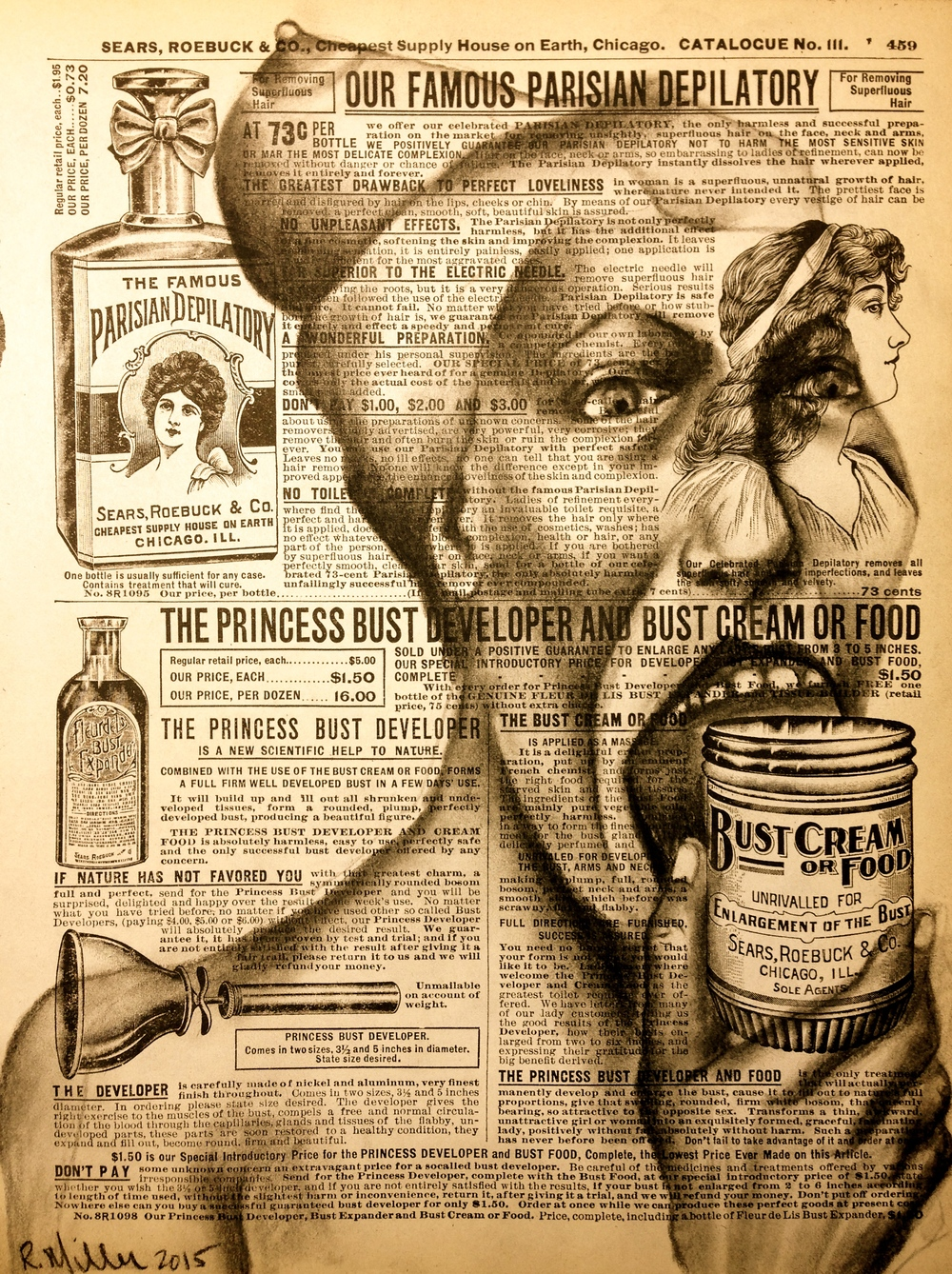 """Busted Food, made by Monsanto; Some Side effects may include: boobhead, fever, headache, loss of appetite, leg shrinkage, hip displacement, hemorrhaging, death. Ask your Dr if Bust Cream is right for you?"" 2015 Charcoal on antique catalog"