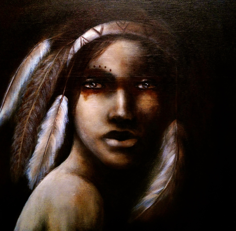 "Tse-Che-Nako, 2015   Acrylic & oil on canvas  ""She is creator of the world in Southwestern  Native American religions  and  myths  such as that of the  Pueblo  and  Hopi  peoples. Although accounts vary, according to mythology she was responsible for the stars in the sky; she took a web she had spun, laced it with dew, threw it into the sky and the dew became the stars.  Navajo mythology  tells of  Spider Woman  or  Spider Old-Woman  ( Na'ashjéii Asdzáá ).  According to the  Zuni ,  string games  were given to them by Grandmother Spider. And was fire-bringer for  Choctaw peoples ."""