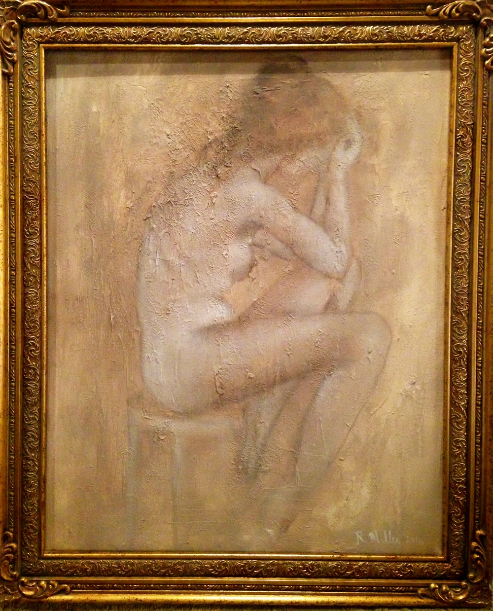 (framed)La Penseuse, 2016   Mixed media on canvas