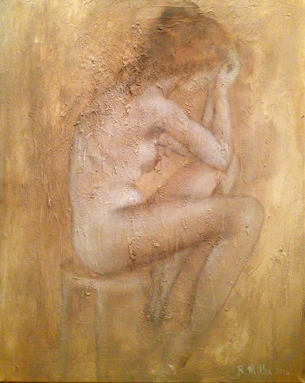 La Penseuse, 2016   Mixed media on canvas