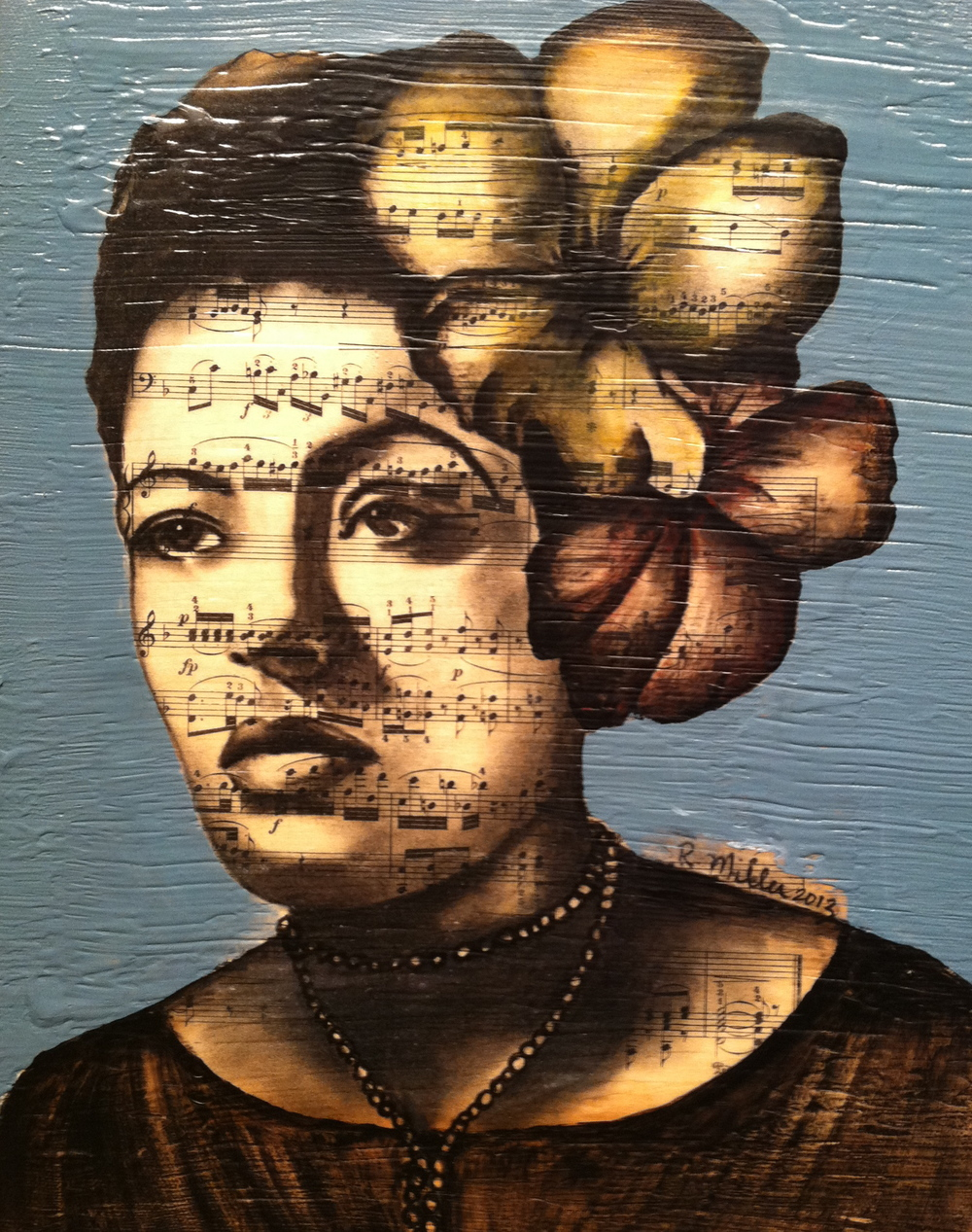 "Billie Holiday,  2013  Charcoal, antique sheet music, acrylic on canvas, 11"" x 14"""