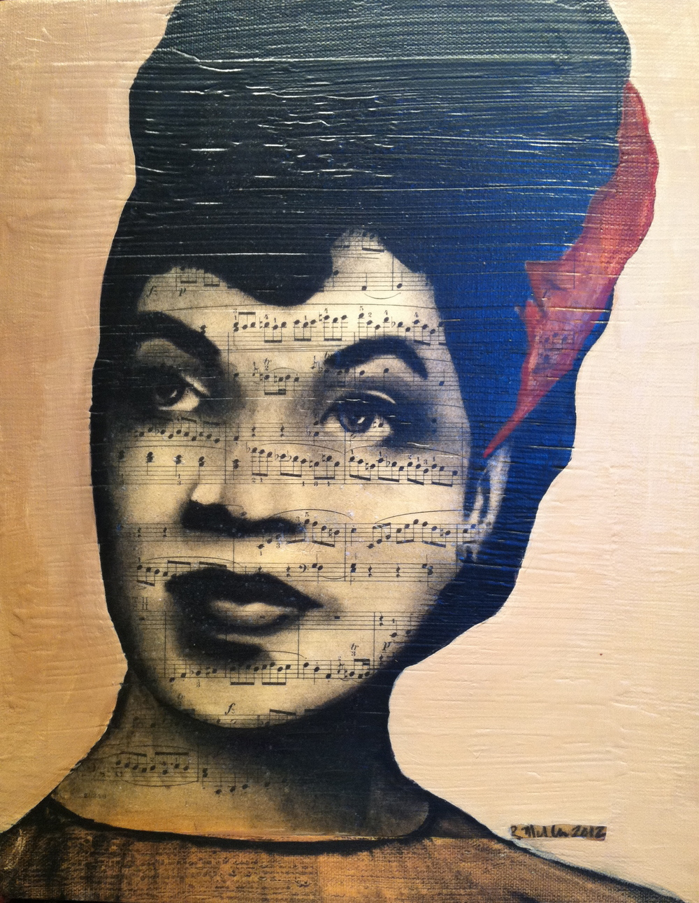 Ella Fitzgerald, 2012      Charcoal, antique sheet music, acrylic on canvas