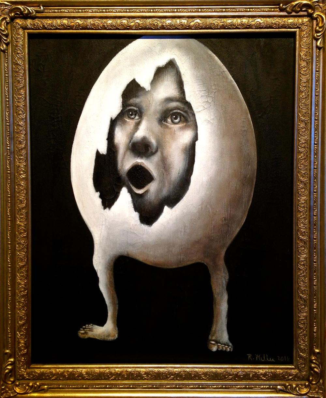 Eggman, 2016   Acrylic & texture medium on canvas
