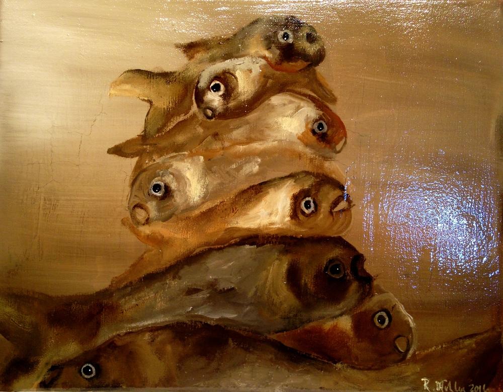 Fish, 2016 Acrylic,oil, & texture medium on canvas