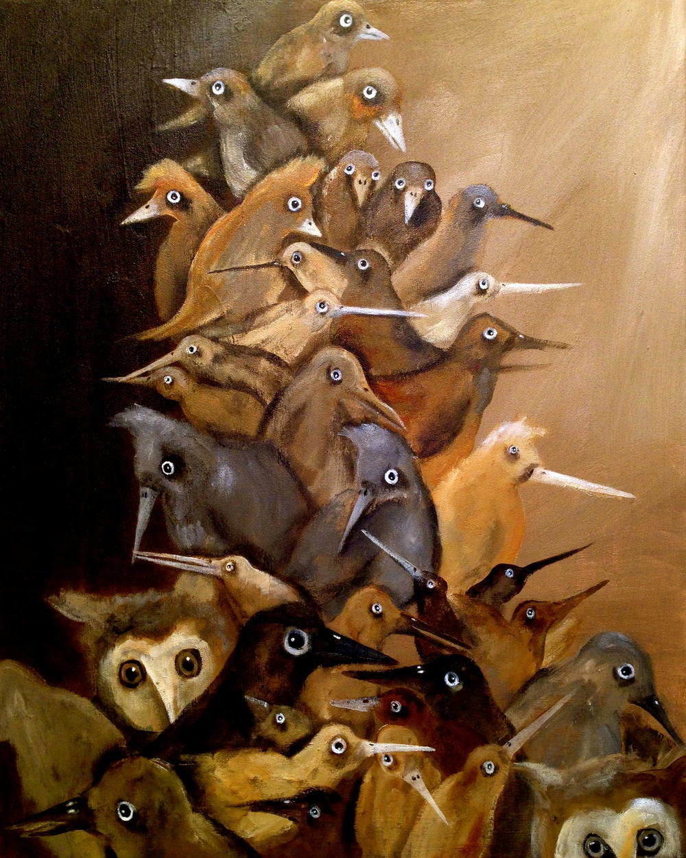 Stack-O-Birds, 2016 Acrylic & oil on canvas