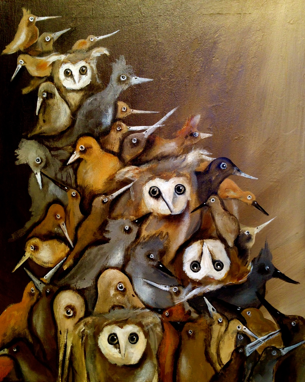 Stack-O-Birds II, 2016   Acrylic & oil on canvas