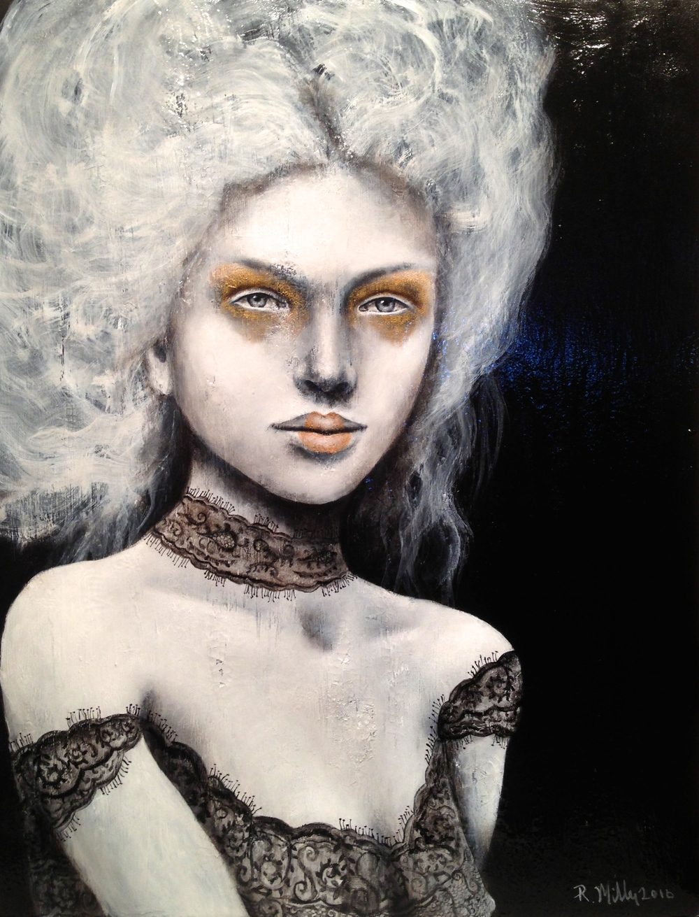 "(Varnished)La Tentatrice,2016   Acrylic, oil, texture medium on canvas 22"" x 28"""