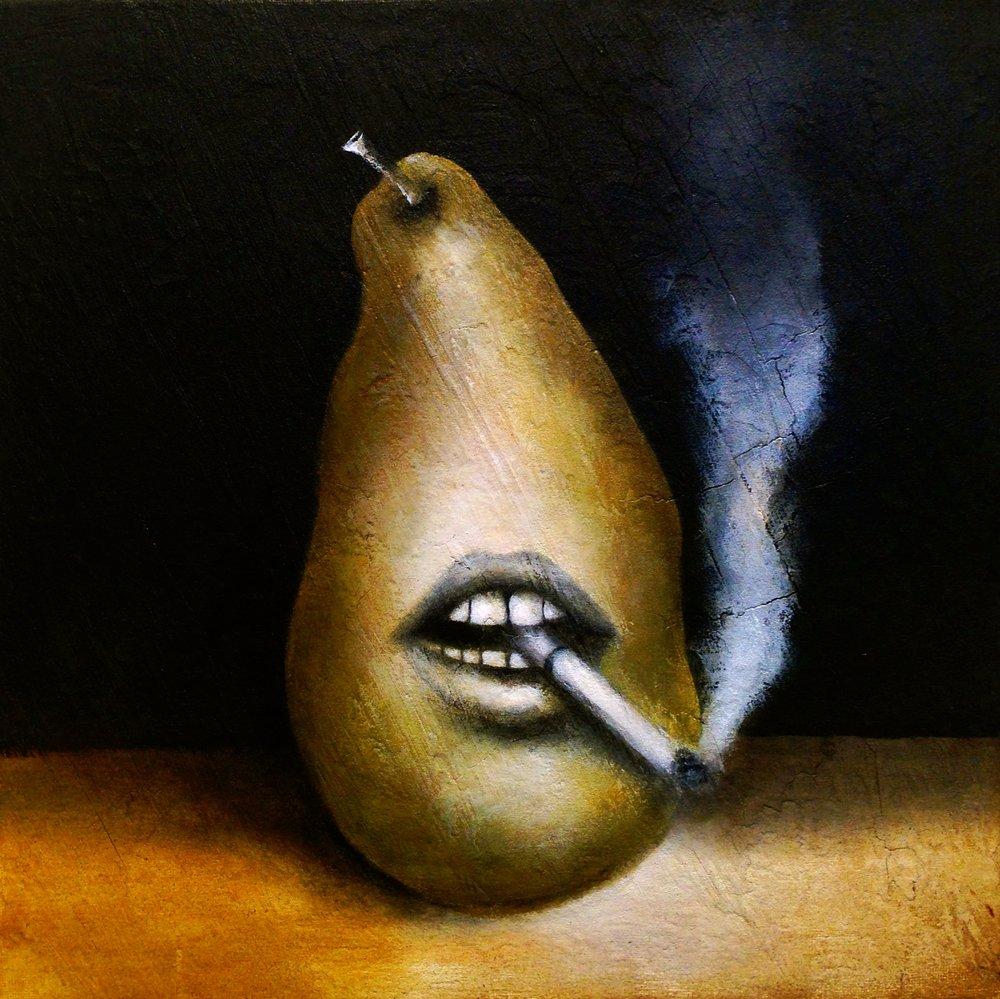 Still Life with GMO Pear, 2016 Acrylic, oil, texture medium on canvas