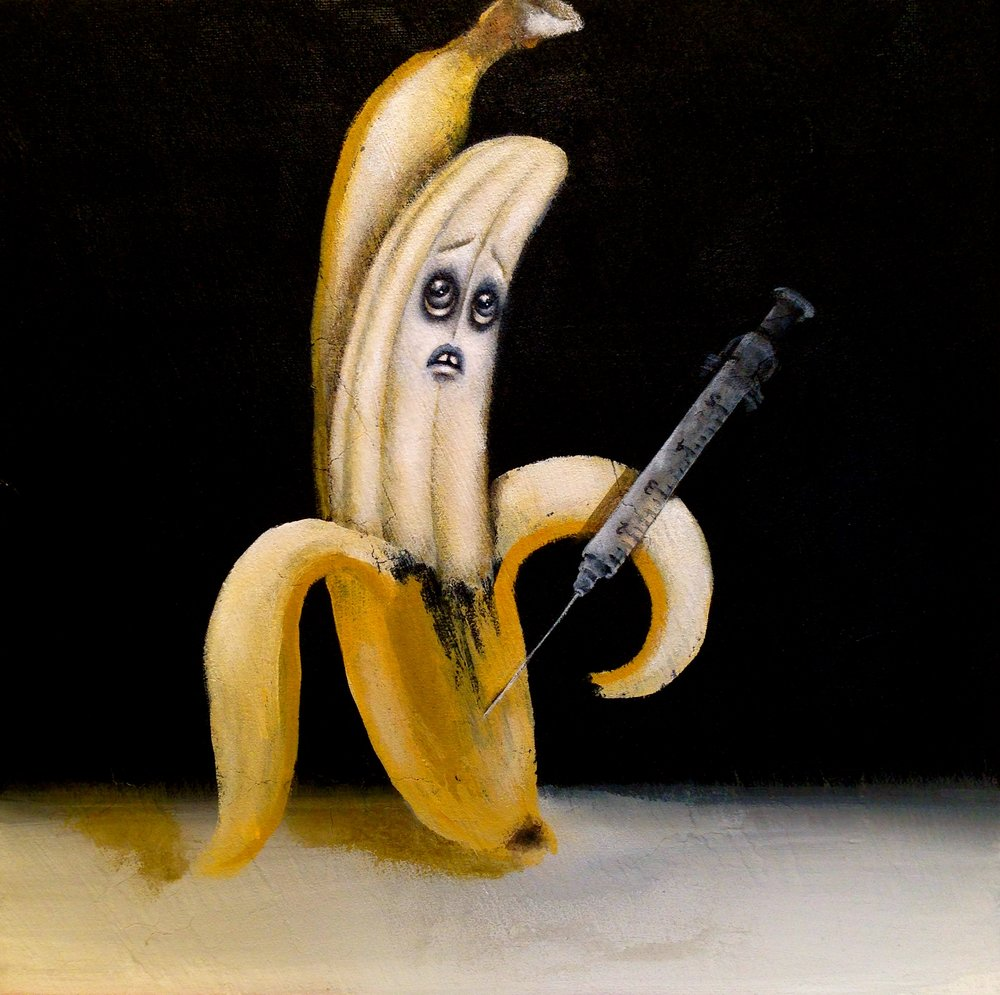 "Still Life with GMO Banana ""Dirty Needle"", 2016 Acrylic, oil, texture medium on canvas"