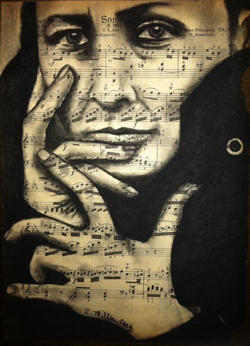 "Georgia O'Keefe Charcoal on antique sheet music, 9"" x 12"""