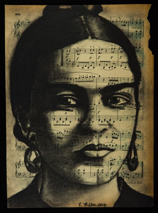 "Frida Kahlo   Charcoal on antique sheet music, 9"" x 12"""