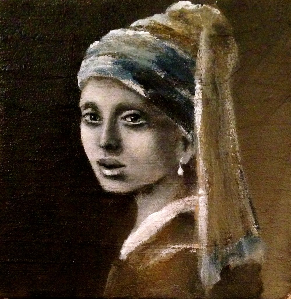 "Mini 4""x4""inch ""Girl with a Pearl Earring"" ..my version.   Acrylic, oil, texture medium on canvas"