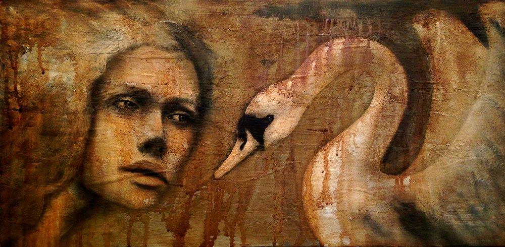 """The Unspoken, 2016   Acrylic, oil,texture medium on canvas 36""""x12"""""""