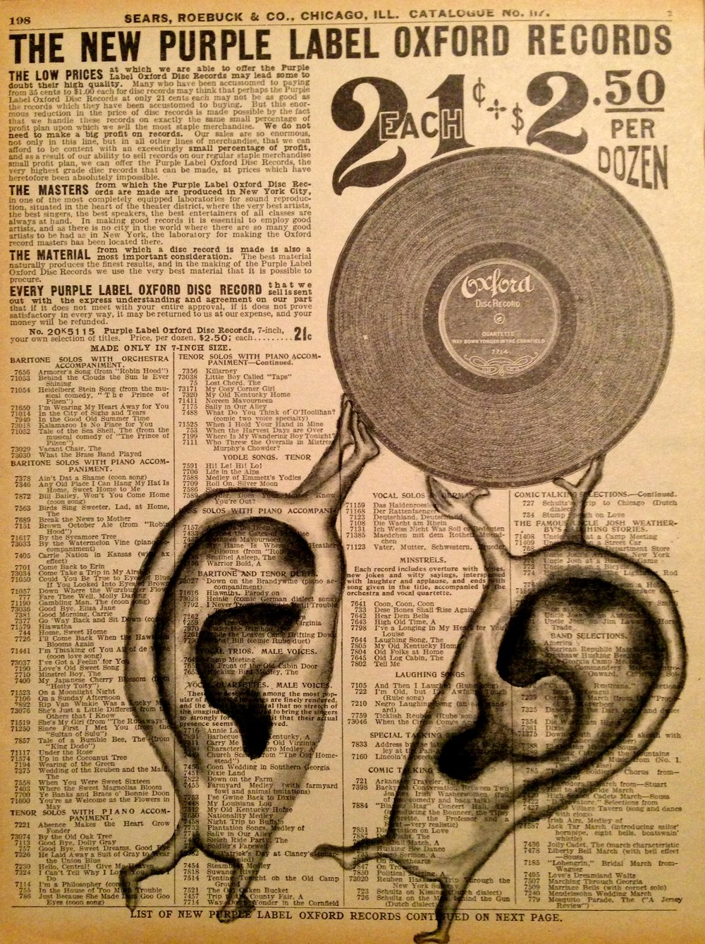 Record On Deaf Ears, 2016 Charcoal on antique catalog