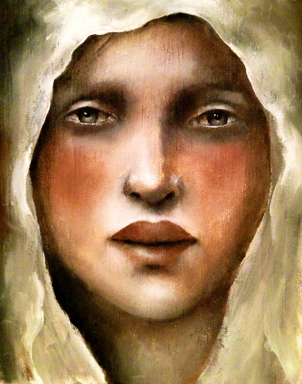 "Veiled Girl, 2017   Acrylic, oil, texture medium on canvas, 8""x10"""