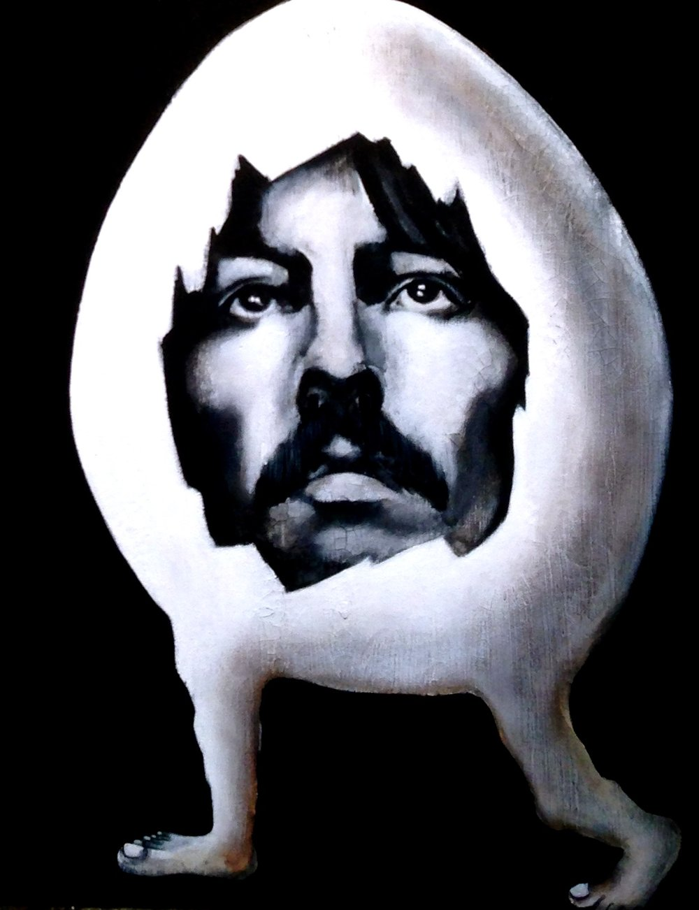 George Harrison Beatle Egg, 2016  Acrylic, oil texture medium on canvas