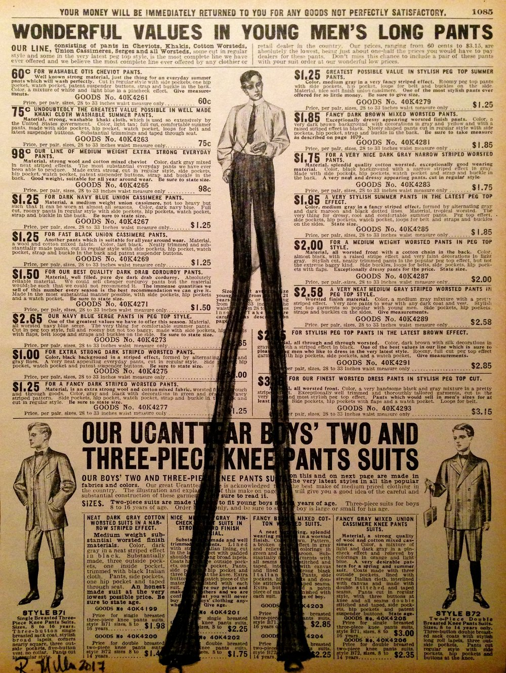 Pants, 2017 Charcoal on antique catalog