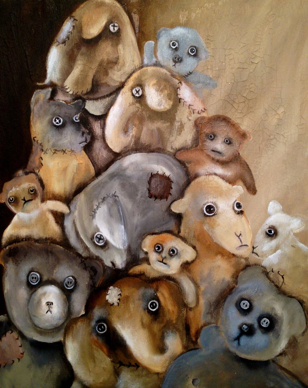 Stack-O-toys, 2016   Acrylic & texture medium on canvas