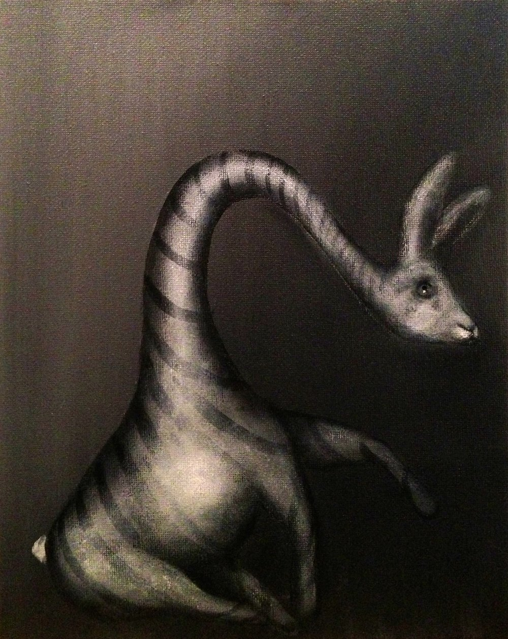 "Zebunnyraffe, 2017  Acrylic on canvas, 8""x10"""