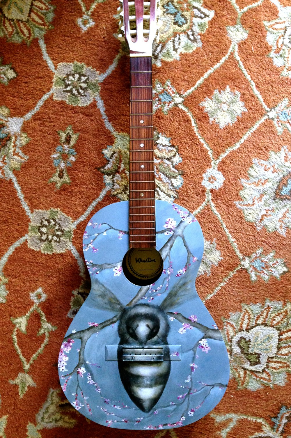 Music of The Bees, 2017  Guitar #3   Acrylic on Guitar