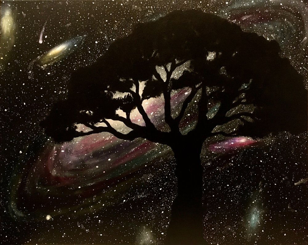 "Celestial Roots, 2017   Acrylic on canvas 16""x20"""
