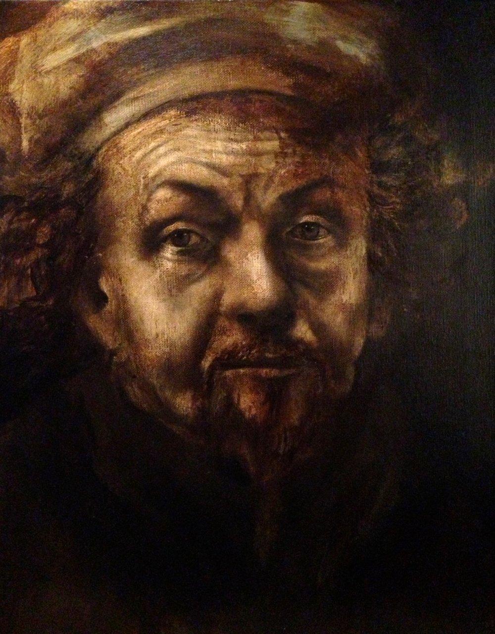 Rembrandt, 2016 Acrylic & texture medium on canvas