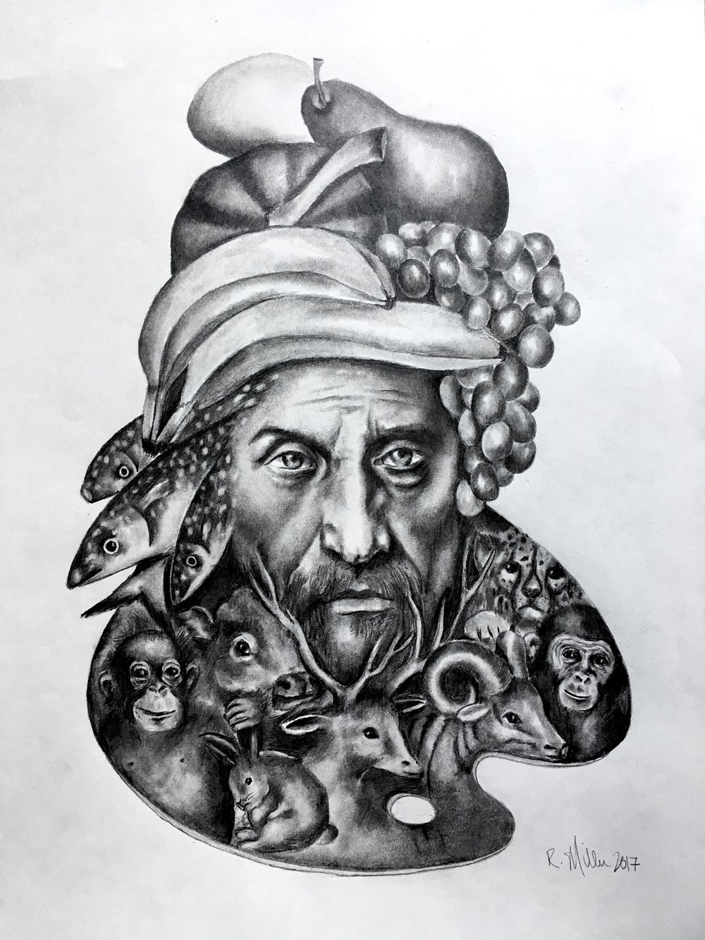 "Giuseppe Arcimboldo, 2017 When the artist becomes their art     #2 pencil on paper 11""x 14"""