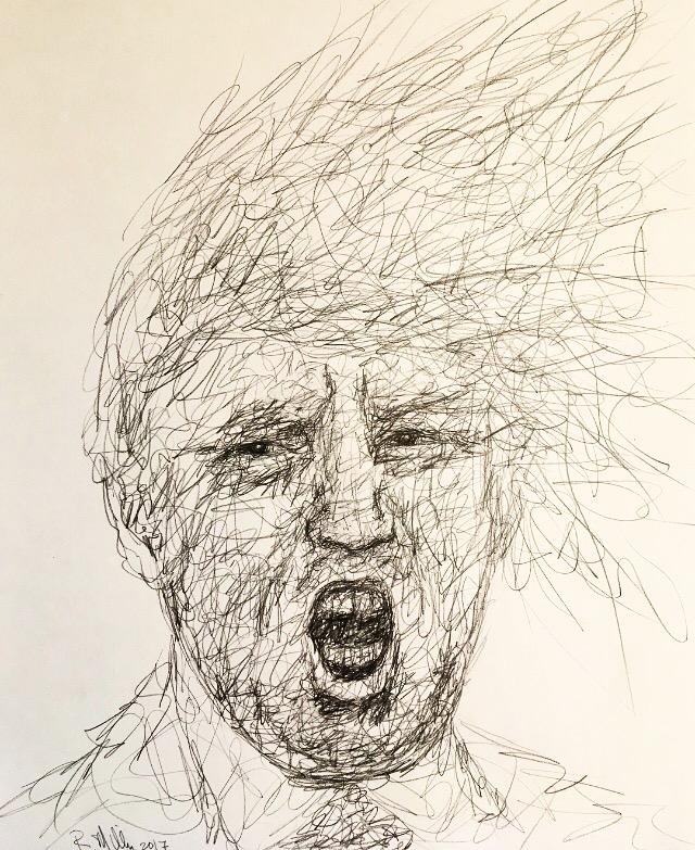 "Trump, 2017   #2 Pencil on paper 11""x 14"""