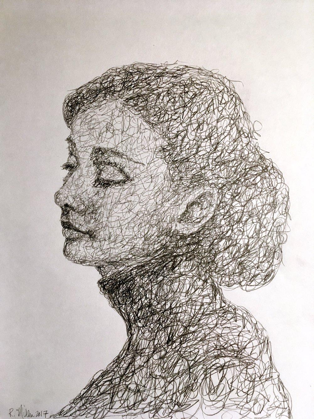 """Audrey, 2017 #2 Pencil on paper 11""""x 14"""""""