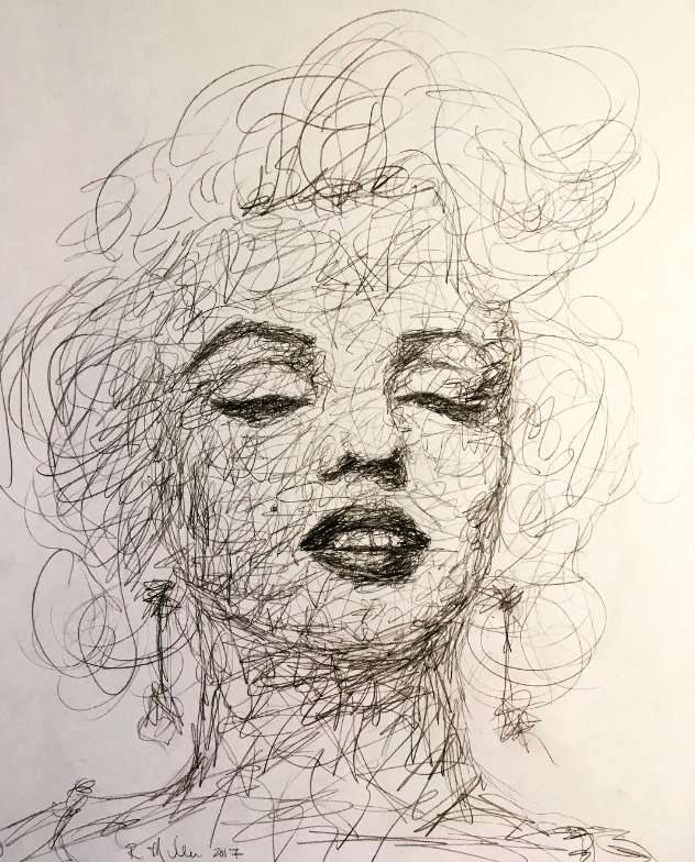 "Scribblylin Monroe, 2017   #2 Pencil on paper 11""x 14"""